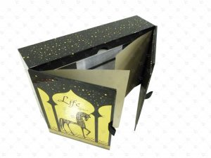 Rigid Box; UV Printing; Gold Foil Paper; Paper Tray Insert; Ribbon; Booklet Gift Set