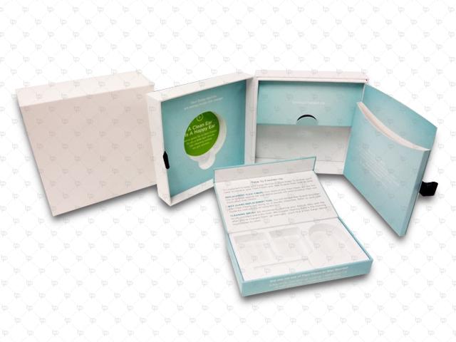 Earphone Packaging: Eargo Plus Rigid Box; PP Lamination; Hot Stamping; Paper Sleeve; EVA; Ribbon
