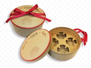 Round Box; Kraft; Ribbon