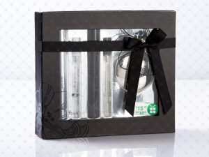 Rigid Box; Pet Window; PP Lamination; Spot UV; Plastic Tray Insert laminate with Foil Board; Ribbon; Stickets